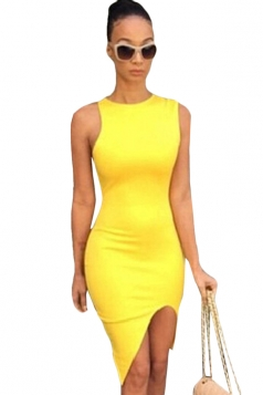 Yellow Ladies Sexy High Low Slit Bodycon