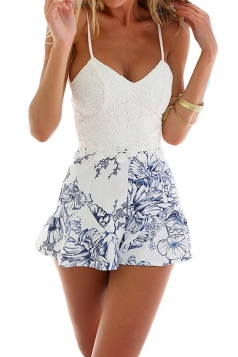 Blue Floral Printed Lace Patchwork Chic Womens Romper