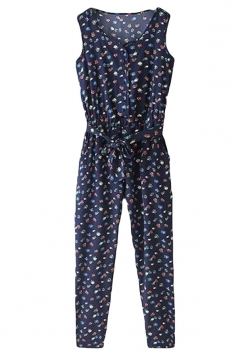 Navy Blue Sleeveless Floral Printed Vintage Womens Jumpsuit