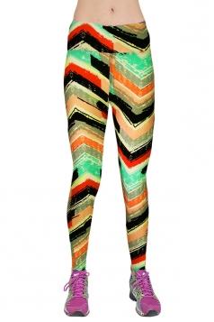 Green Ladies Geometric Printed High Waist Leggings