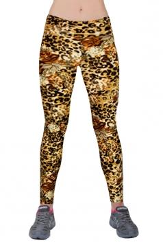Orange Ladies Floral Printed High Waist Leggings