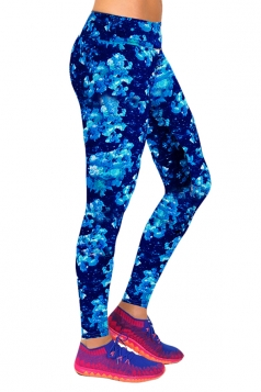 Navy BlueLadies Floral Printed High Waist Leggings
