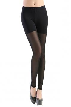 Black Neon See Through Mesh Patchwork Womens Leggings