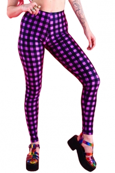 Rose Red Plaid Printed Stylish Ladies Leggings