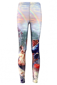 Blue Beauty and The Beast Printed Chic Womens Leggings