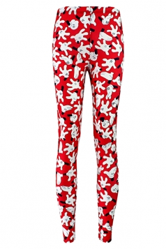 Red Mickey Mouse Gesture Printed Chic Ladies Leggings