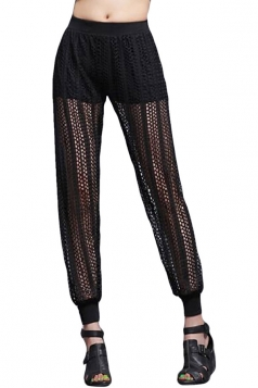 Black Ladies Stretchy Pleated Lace Leggings