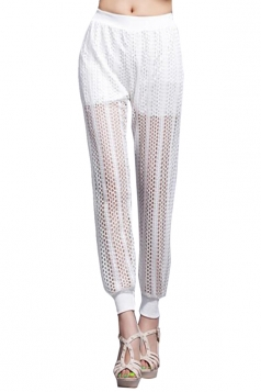 White Ladies Stretchy Pleated Lace Leggings