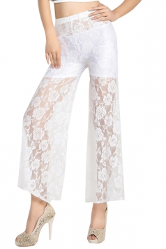 White Rose Lace High Waisted Sexy Chic Womens Leggings