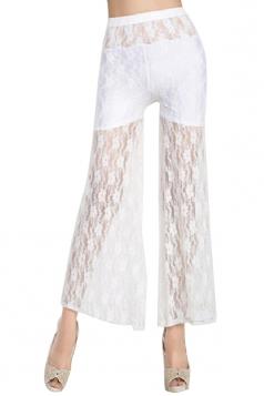 White Plum Flower Lace See Through Ladies Leggings