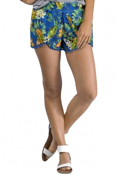 Blue Floral Printed Tassel Exotic Chic Womens Shorts