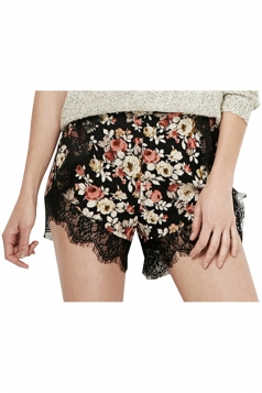 Black Lace Patchwork Floral Printed Chic Womens Shorts