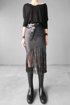Black Ladies High Waisted Tassel Leather Skirts