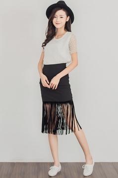 Black Fringe High Waisted Chic Ladies Midi Skirt