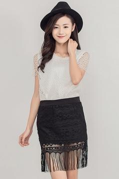 Black Crochet Fringe Charming Ladies Midi Skirt
