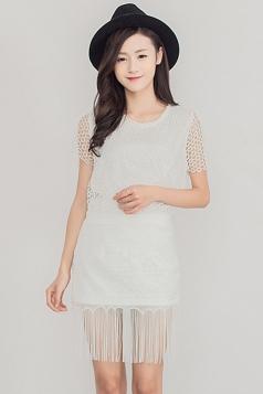 White Crochet Fringe Charming Ladies Midi Skirt