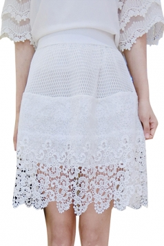 White Lace Hollow Out Charming Womens Midi Skirt