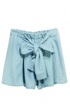 Blue Denim Bow Fashion Womens Skort