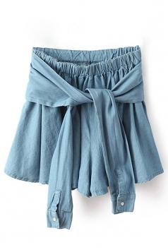 Sapphire Blue Denim Bow Fashion Womens Skort