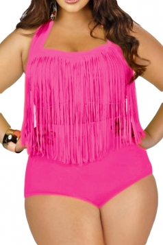 Womens Plus Size Sexy Fringe Top&High Waist Bottom Bikini Set Rose Red