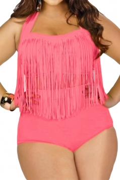 Womens Plus Size Sexy Fringe Top&High Waist Bottom Bathing Suit Pink