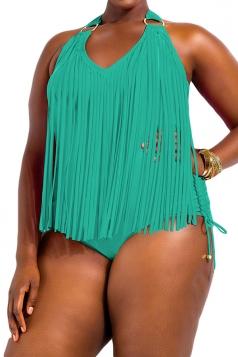 Plus Size Turquoise Sexy Plain Tassel Oversized Monokinis
