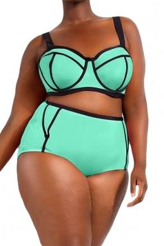 Plus Size Green Sexy Swimwear Top&High Waist Swimwear Bottom