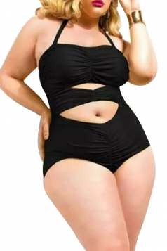 Plus Size Black Sexy Cut Out Tight Oversized Monokinis