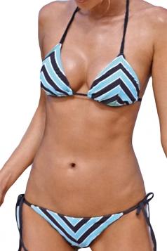 Blue Sexy Stripe Swimwear Top&Swimwear Bottom