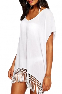 White Fancy Womens Fashion Tassel Beach Dress