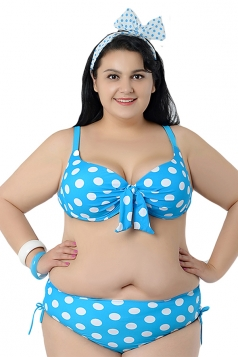 Blue Plus Size Polka Dot Bikini Top & Chic Swimwear Bottom