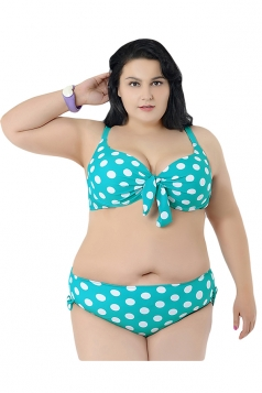 Green Plus Size Polka Dot Bikini Top & Chic Swimwear Bottom