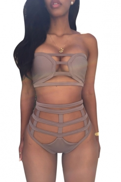 Khaki Bandage Cut Out Bikini Top & Charming Swimwear Bottom
