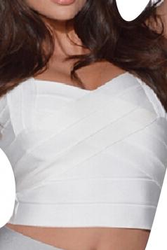 White Bandage Zipper Sexy Ladies Crop Top