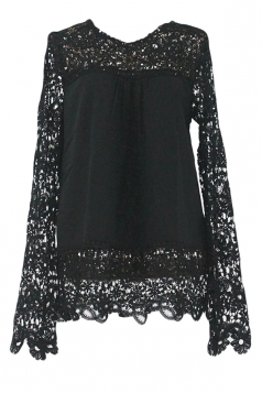 Black Ladies Hollow Out Long Sleeve Lace Blouses