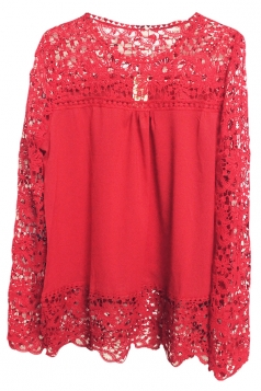Red Ladies Hollow Out Long Sleeve Lace Blouses