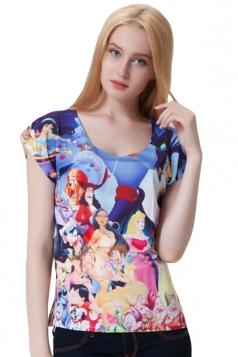 Blue Crew Neck Disney Cartoon Printed Womens Tee Shirt