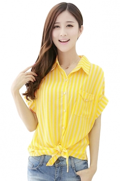 Yellow Chiffon Plus Size Sun-Proved Striped Blouses