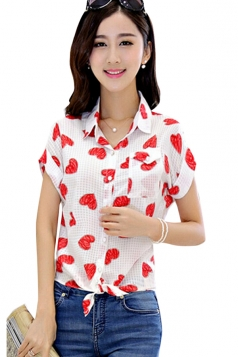 Red Plus Size Round Dot Heart Printed Blouses