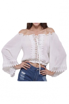 White Lace Up Embroidered Bateau Sexy Womens Tube Top