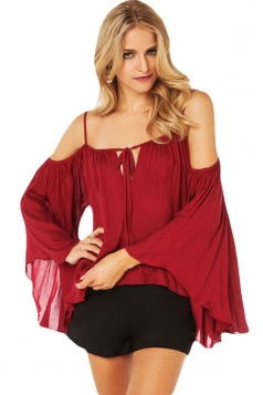 Red Batwing Sleeve Bateau Sexy Womens Off Shoulder Top