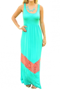 Turquoise Wave Grain Bohemian Lace Patchwork Maxi Dress