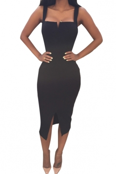Black Ladies Sexy Slit Bandage Clubwear Dress