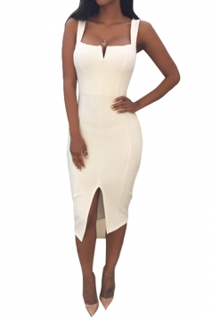 White Ladies Sexy Slit Bandage Clubwear Dress