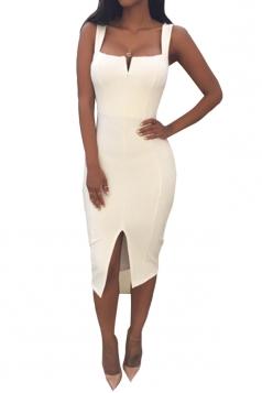 White Ladies Sexy Slit Bandage Clubwear Dress