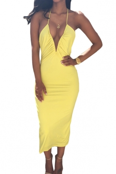 Yellow Sexy Backless Bandage V Neck Clubwear Dress