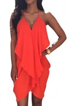 Red Ladies Sexy Deep V Neck Peplum Clubwear Dress