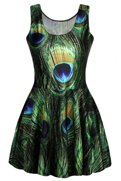 Green Peacock Feather Printed Sexy Fashion Ladies Skater Dress