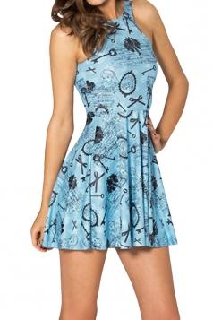 Blue Cinderella Printed Sexy Fashion Ladies Skater Dress