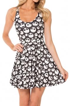 Black Skull Expression Printed Sexy Fashion Ladies Skater Dress